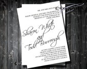 Free Gift - Printable / Digital Classic Black and White Invitation / Custom color / DIY Weddings / Style 00105WI