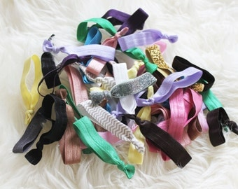 Lot of 100 Multi Color Hair Ties - Emi Jay Inspired - Grab Bag - Yoga - Elastic Knotted Pony Tail - Anthropologie Inspired - No Crease