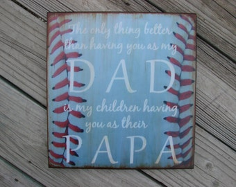 Distressed Wood DAD / PAPA Quote Wall Plaque Decor BASEBALL, fathers day
