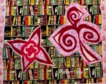 "Fairy Quilt Pattern  ""Fairies on the Bookcase"""
