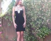 Vintage 1980s JESSICA McCLINTOCK Sexy Party Prom Dress Size 3/4  XXS/XSmall