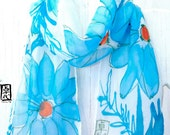 Hand Painted Silk Scarf Blue Silk Scarf, Turquoise Cosmos Floral Scarf. Silk Chiffon Scarf. Floral Silk Scarf. 7x50 in. Made to order.