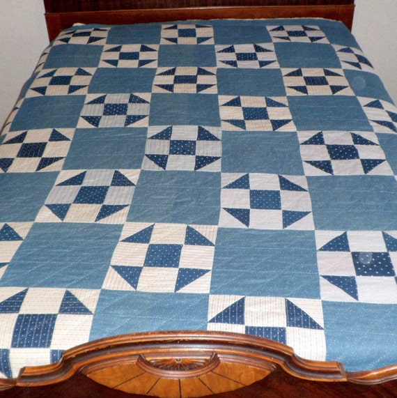 Antique Blue & White Quilt Hand Stitched Belle Minnesota 83 x 72