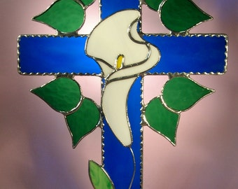 Stained Glass Suncatcher Cross with Lily  (319)
