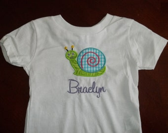 Happy Snail Appliqued Tshirt - Toddler Tshirt sizes 12 months to 5/6