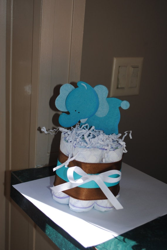 Small one layer blue elephant diaper cake by atkinsoncreations