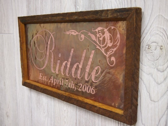 Customized Wedding Sign Copper Engraving, Personalized name sign, Established date sign, Copper Anniversary Gift