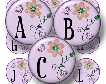 Purple Floral Alphabet Letters Bottle Cap Images 1 Inch Circles Digital Collage Sheets INSTANT DOWNLOAD Digital File