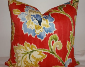 Waverly Red Floral Pillow Cover Decorative Pillow Throw Pillow 18x18