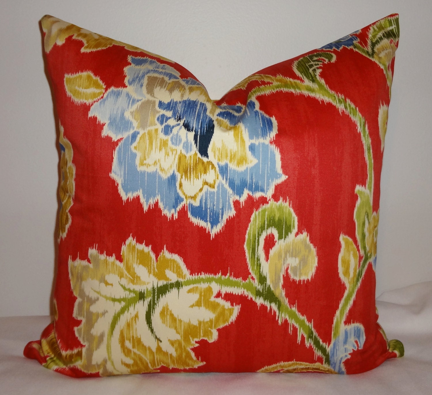 Waverly Red Floral Pillow Cover Decorative Pillow Throw Pillow