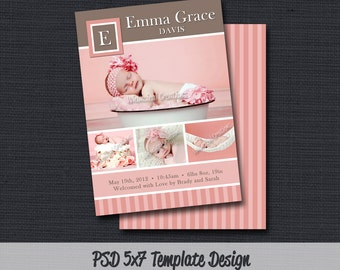INSTANT DOWLOAD - Birth Announcement Template (Girl BA 57) Photographer Template