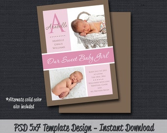 INSTANT DOWLOAD - Birth Announcement Template (Girl BA 04) Photographer Template