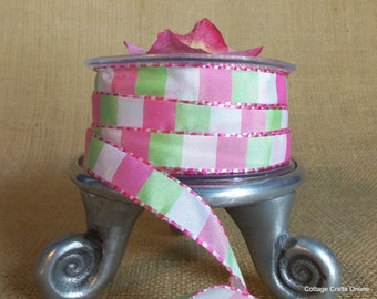 "Ribbon  1/2"" wide, Pink, Green and White Squares with Pink Stitched Edge, TEN YARDS, May Arts, Spring, Summer, Sewing Trim"