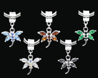 Rhinestone Dragonfly Charm Beads Fits European Bracelets