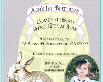 Vintage Easter/Spring Birthday Invitation