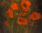Poppies. Original 6x8 modern floral abstract - ethereal - by artist Christina Glaser