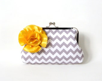 Gray Chevron Clutch Purse with Yellow Flower Adornment