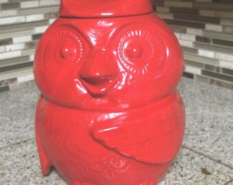 Adorable Red Owl Cookie Jar Holder Vintage
