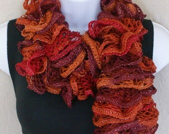 Ruffle lace soft scarf hand knit multicolored Orange Maroon Red with silver shiny