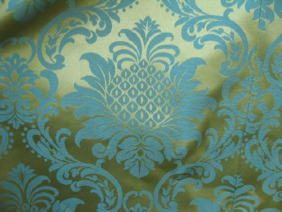 2 huge pairs heavy damask curtains fabric blue green on gold. Black Bedroom Furniture Sets. Home Design Ideas