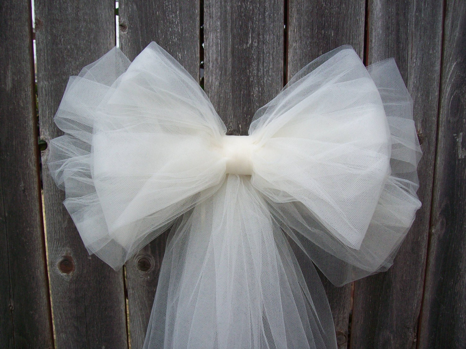 Diy Wedding Bow Decorations : Tulle pew bow over colors church decor