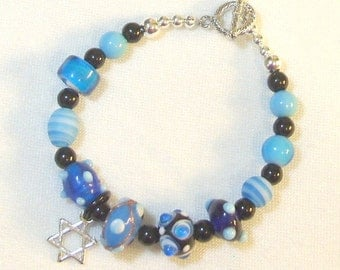 Blue and Black Lampwork Beaded Bracelet
