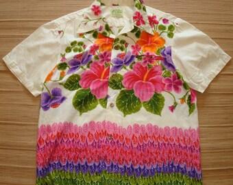 Mens Vintage 60s Ui Maikai Hawaiian Aloha Shirt - XL - The Hana Shirt Co