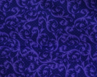Purple Scroll fabric 1 yard