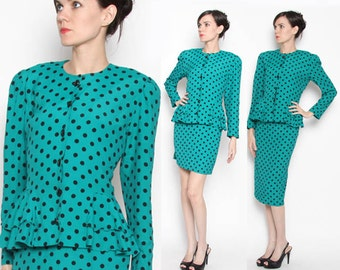 Vintage 80s Teal Black Polka Dot 2 Piece Peplum Suit / Rockabilly / Working girl / M