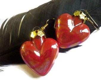 Red Heart Earrings - Light Weight - Gold Filigree Cap - Unique Shine - Under 10