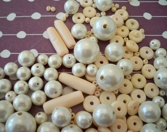Vintage Bead Destash - High Quality Faux Pearl Beads and Vintage Pale Coral Chalk Beads
