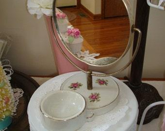 Vanity Mirror-pink china base-swivel mirror-ring holder-shabby chic-cottage style-mid century-vanity bench.