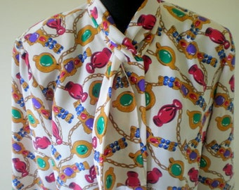 Vintage Secretary Blouse Shirt / Ascot Big Bow Tie / Silky Scarf Button Down / 80s 90s Print Baroque Versace Style Chains Jewels / L XL