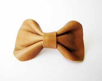 Caramel hair bow, Leather hair bow, Leather bow barrette, Caramel brown hair clip, Bow hair clip, Bow hair barrette, Brown hair bow barrette