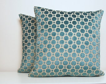 Teal Pillow Cover, Velvet, Turquoise Pillow, Blue Pillow, Velvet, Decorative Pillow, Modern Pillow, Geometric, Velvet Geo, Throw Pillow