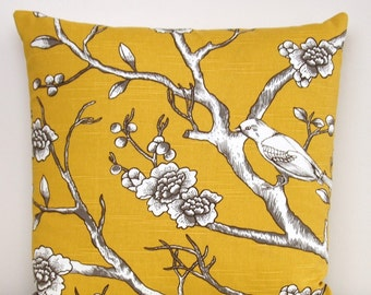 Yellow Pillow Cover, Birds, Botanical, Taupe, Brown, White, Floral, Branches, Nature, Throw Pillow, Modern Pillow, Spring Pillow