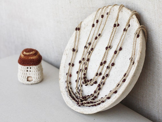 Brown necklace Rustic jewelry Natural linen necklace with glass beads Boho Bohemian Spring fashion Multi strand Mother's Day gift