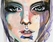 Portrait watercolor art artwork painting print -Siren