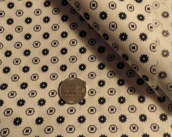 Black and White Calico Cotton Fabric Vintage
