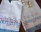 Linen Towel Dogs Kitchen Towels Tea Towel Vintage Embroidered Towel Crochet Trim