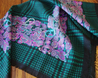 Vintage Paisley Scarf Green Black and Pink Design