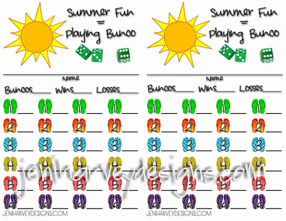 Bunco Score Cards – Bunco Score Sheets Template