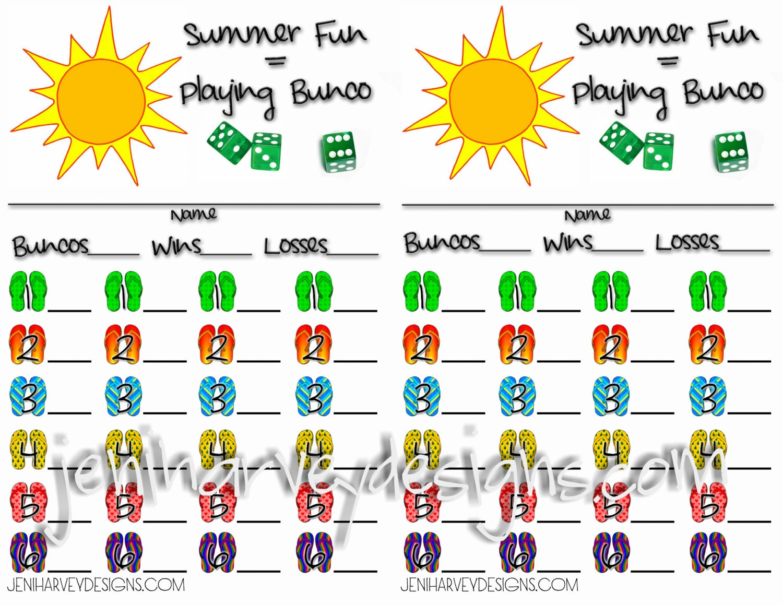 summer bunco score cards
