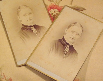 Antique CDV Lady Circa 1870's Set of 2