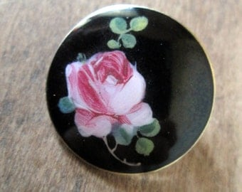 Antique Enamel & Sterling Silver Floral Brooch black and pink rose bud pin hand painted vintage 50s 1950s Andresen Scheinpflug Oslo Norway