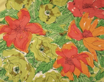 Vera Scarf Vera Neumann vintage 60s silk scarf square large floral orange tangerine chartreuse Mad Men style Betty Draper splashy print