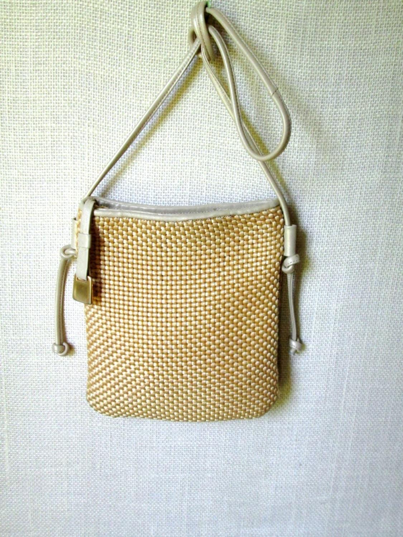 Straw Crossbody Bag Woven Shoulder Bag Vintage 90s Long Strap