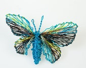 Turquoise Butterfly Brooch Wire butterfly jewelry Wire sculpture Art brooch Colorful jewelry Mothers gift Contemporary jewelry Unique