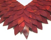 "Red Mirror, Leather Feather Bathroom Mirror 17"" x 20"", Red Leather Mirror, Red Hanging Mirror"