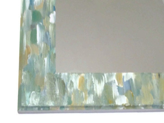 Green Beach Themed Bathroom Mirror Seaglass Colored Shabby Chic Hand Painted Ornate Hanging